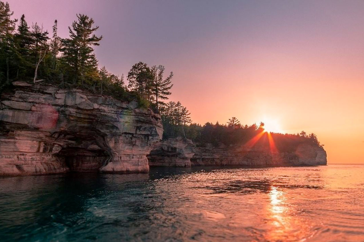 Pictured Rocks Sunset Spray Falls Cruise