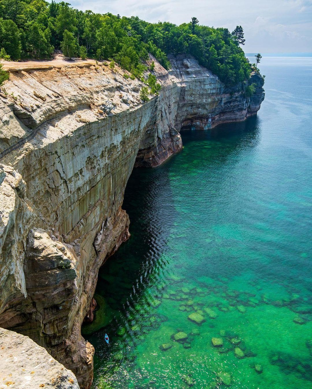 The cliffs of the Pictured Rocks and clear waters of Lake Superior