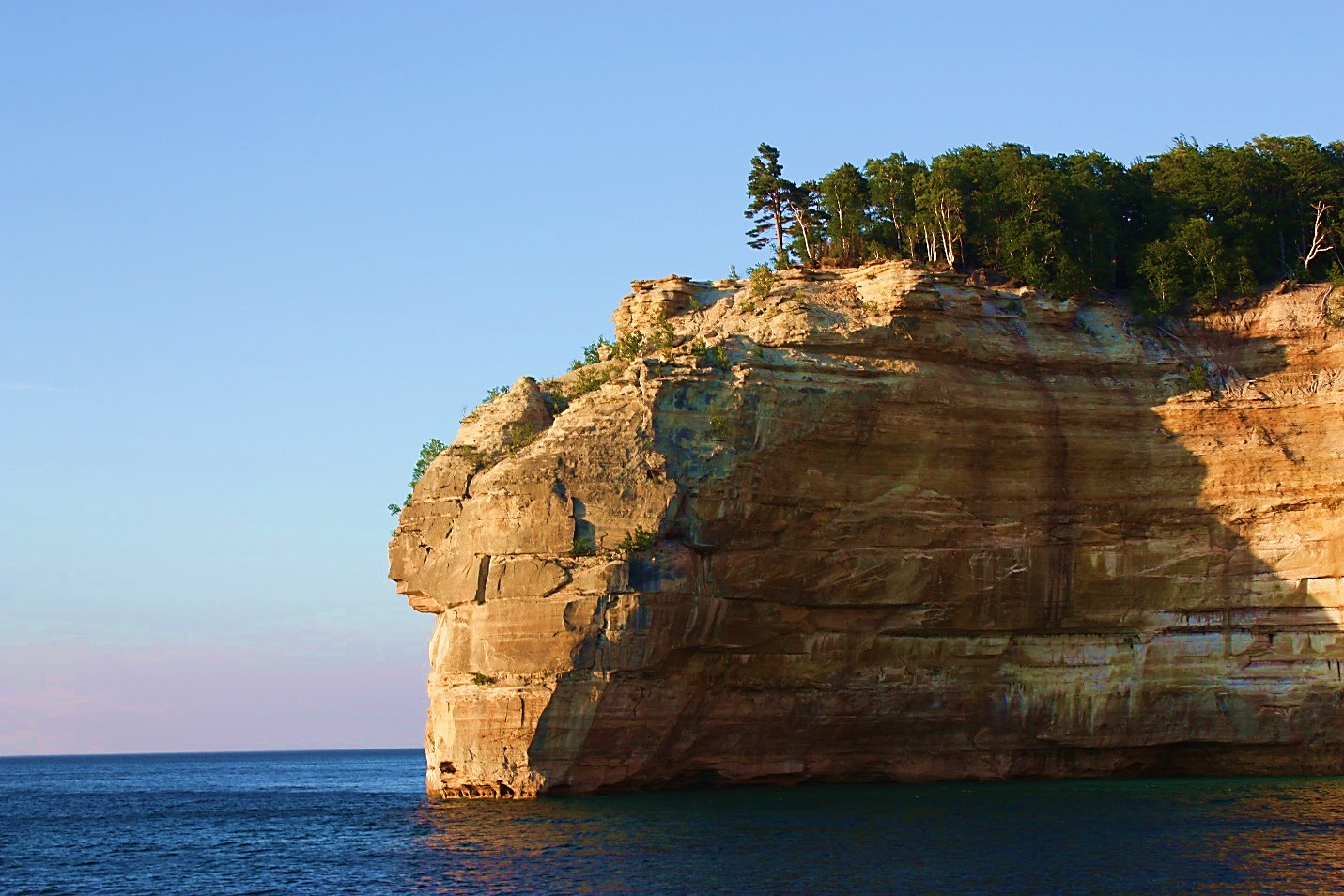 Indian Head Rock, a formation in the Pictured Rocks.