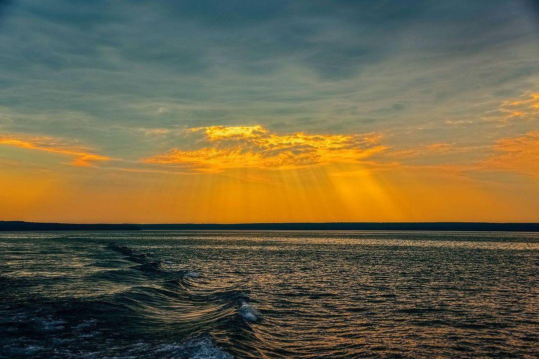 The sun setting over Lake Superior.